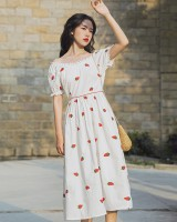 Strawberries pure cotton retro embroidery dress