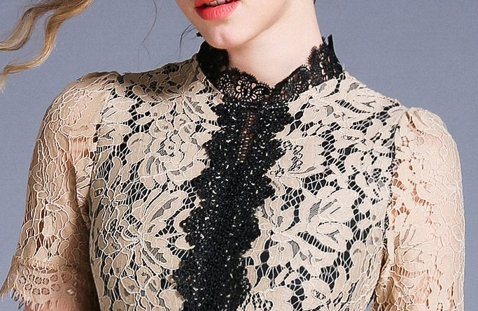 Autumn hollow lace big skirt splice crochet dress