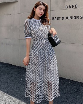 Slim lace dress hollow pinched waist long dress for women