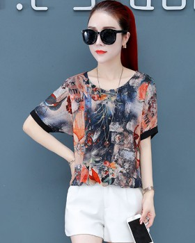 Floral Cover belly chiffon shirt Western style loose tops for women