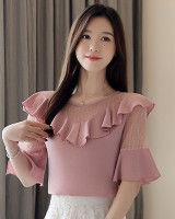 Speaker chiffon shirt lotus leaf edges tops for women