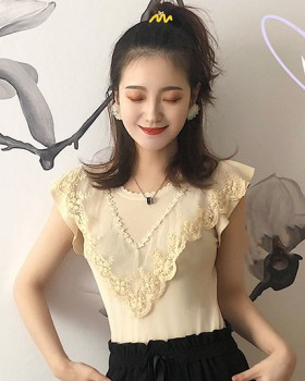 Sleeveless round neck splice tops lace summer thin sweater
