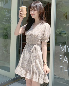 Floral refreshing chiffon maiden dress