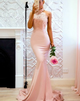 Halter package hip long dress sexy formal dress