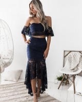 Lace European style halter wrapped chest dress 2pcs set