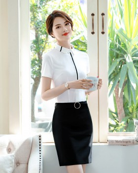 Short sleeve work clothing slim shirt a set for women