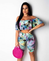 European style printing fashion Casual tops 2pcs set