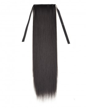 Binding horsetail wig long widen straight hair