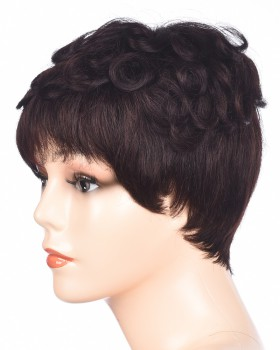 Black middle-aged human hair fluffy headgear