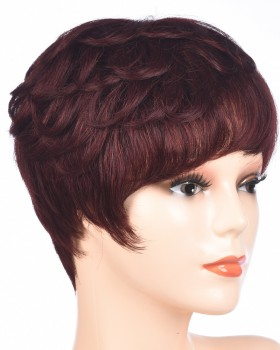Middle-aged curly hair wine-red headgear