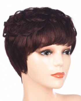 Brown middle-aged human hair fluffy wig