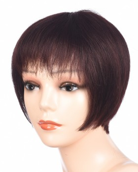 Brown human hair short wig