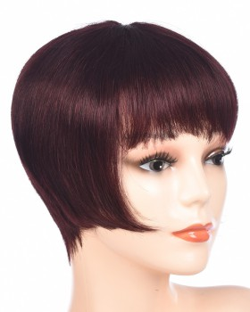 Short human hair wine-red bangs