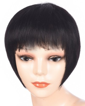 Short black straight hair round face bangs