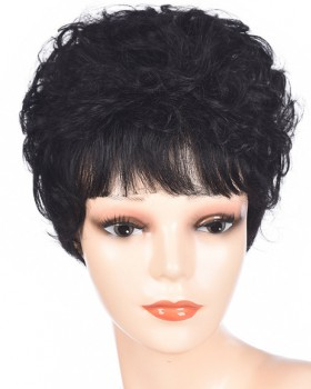 Fluffy short middle-aged curly hair lifelike natural headgear