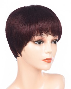 Round face short headgear fluffy wine-red straight hair