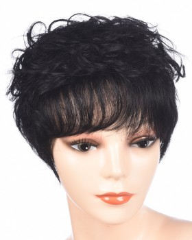 Fashion fluffy wig middle-aged short human hair for women