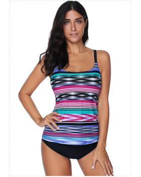 Sunscreen wicking swim tops sleeveless stripe swimwear