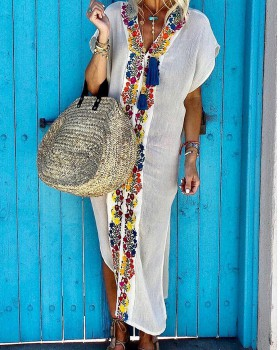 Long V-neck smock vacation sun shirt for women