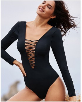 Swim hollow conjoined halter long sleeve swimwear for women