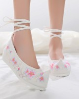 Spring within increased lily embroidered shoes for women