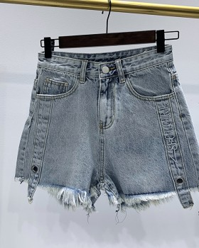 Casual embroidery short jeans simple rivet pants