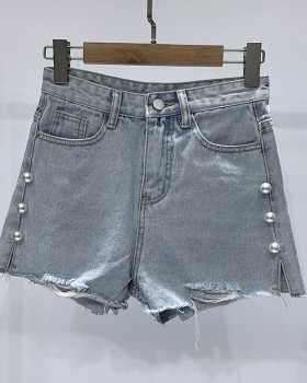 Slim summer light color Korean style short jeans
