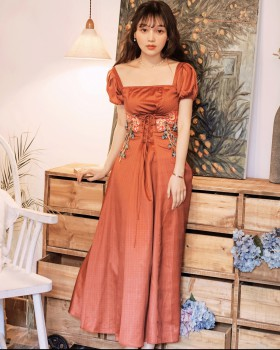 Bandage pinched waist long dress France style puff sleeve dress