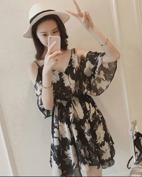 Strapless floral beach dress flat shoulder chiffon dress