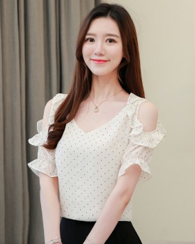 Polka dot chiffon shirt Cover belly tops for women
