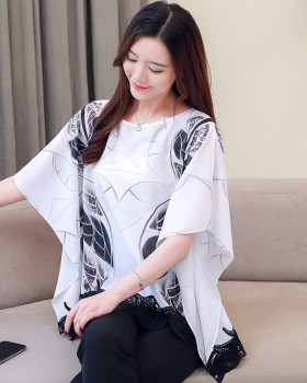 Bat sleeve chiffon shirt large yard tops for women