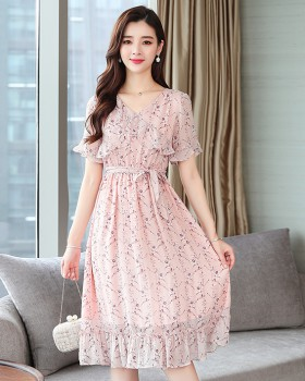 Chiffon pinched waist summer lotus leaf edges dress