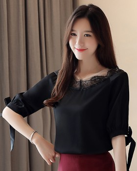 Slim summer lace gauze chiffon shirt