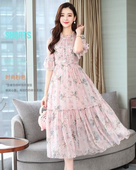 Tender temperament lady floral chiffon France style dress