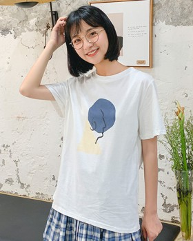 Cartoon printing tops all-match T-shirt for women