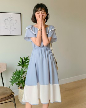 Pinched waist summer long sweet slim beautiful dress