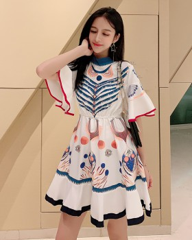 Short sleeve summer fashion printing dress