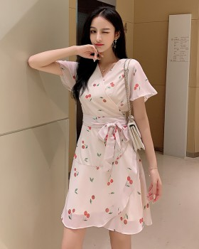 Cherry summer chiffon dress