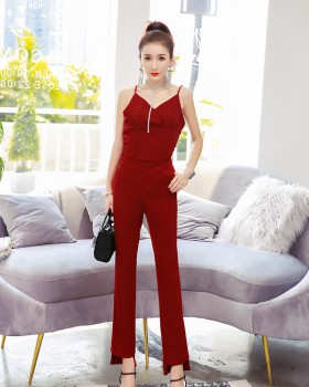 Korean style wide leg pants tops 2pcs set for women
