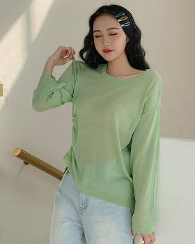 Ice silk thin sun shirt loose round neck tops for women