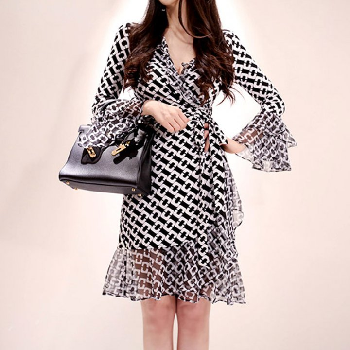 Splice summer printing Korean style sunscreen dress