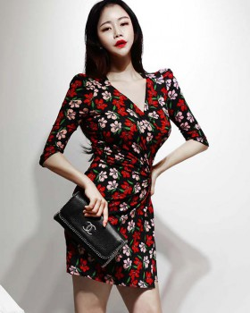 Temperament chouzhe printing Korean style dress for women