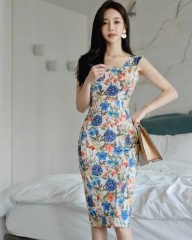 Printing package hip sleeveless dress slim Korean style dress