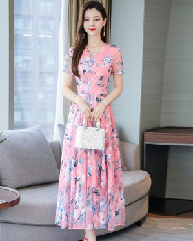 Slim summer short sleeve embroidery long dress for women