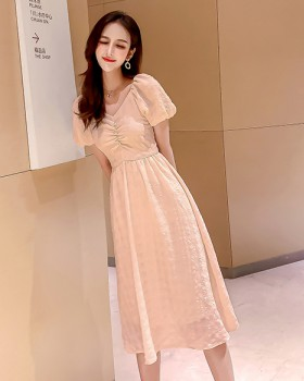 France style lady exceed knee summer dress