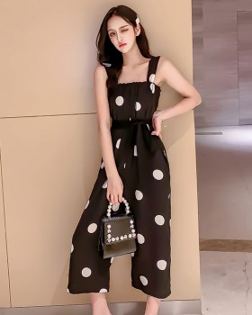 Loose summer jumpsuit wide leg bib pants a set for women