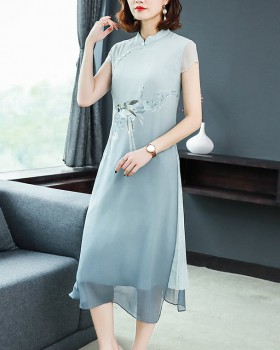 Printing summer dress Chinese style cheongsam for women