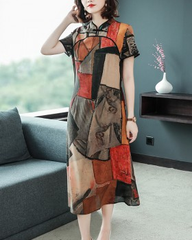 Silk spring and summer cheongsam long real silk dress