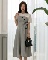 Frenum exceed knee pinched waist big skirt dress for women