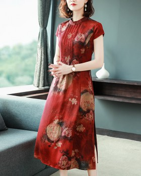 Chinese style silk dress long cheongsam for women